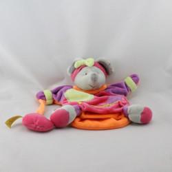 Doudou et compagnie marionnette souris Zigzag gris rose violet orange