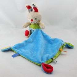 Doudou lapin beige bleu vert rouge pois mouchoir NICOTOY