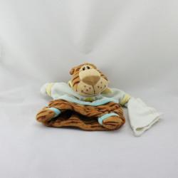 Doudou marionnette tigre mouchoir marron beige bleu BABY NAT