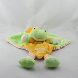 Doudou plat grenouille verte jaune rayé Je suis ARTESAVI