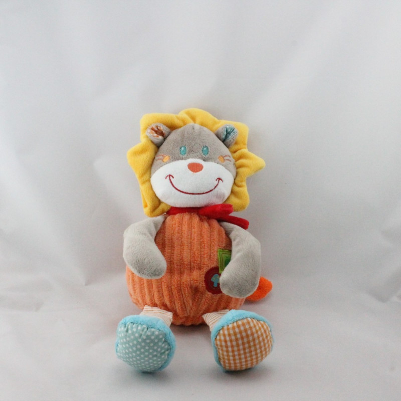 Doudou lion gris orange rouge jaune bleu MOTS D'ENFANTS