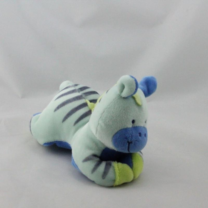 Doudou hochet zébre bleu couché BEBE CONFORT