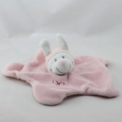 Doudou plat étoile lapin blanc rose pois NICOTOY
