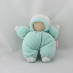 Doudou poupon bébé bleu fleurs BABI COROLLE