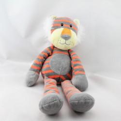 Doudou lion tigre gris rouge rayé CMI
