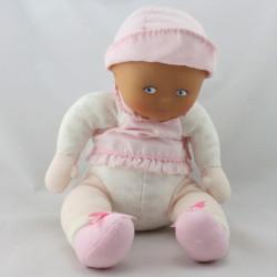 Doudou bébé poupée blanc rose coeurs COROLLE 2008