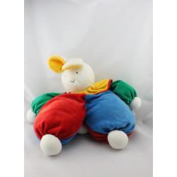Grand Doudou lapin bleu rouge vert col jaune MOULIN ROTY