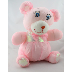 Peluche Puffalump ours rose blanc brillant