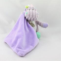 Doudou côtelées hippopotame mauve mouchoir BABY NAT
