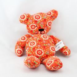 Doudou ours rouge orange fleurs DPAM DU PAREIL AU MEME