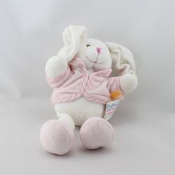 Doudou lapin blanc gilet rose KIMBALOO