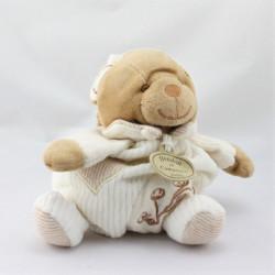 Doudou et compagnie bio ours boule blanc beige fleurs