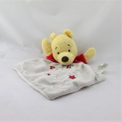 Doudou plat Winnie l'ourson rouge gris étoiles brodées DISNEY BABY
