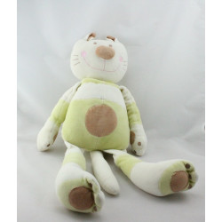 Grand Doudou chat blanc vert marron