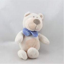 Doudou ours blanc beige écharpe bleu BENGY