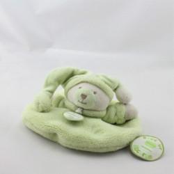 Doudou et compagnie plat rond ours Douceur Macaron vert pistache