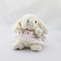 Doudou lapin blanc robe fleurs BUKOWSKI
