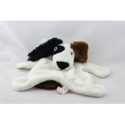 Doudou plat chien blanc noir marron LES PETITES MARIE
