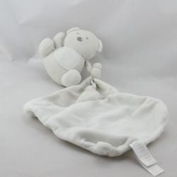 Doudou ours gris blanc mouchoir CADES