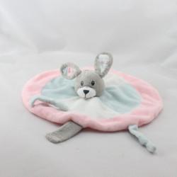 Doudou plat rond lapin rose bleu blanc gris PICCO MINI