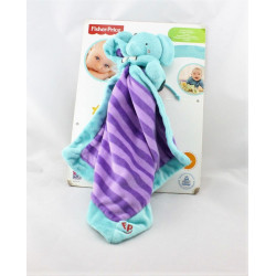 Doudou éléphant bleu violet mouchoir FISHER PRICE