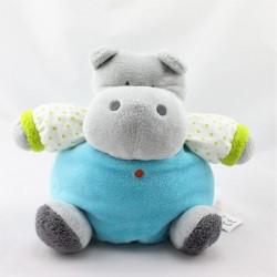 Doudou hippopotame gris bleu vert pois OBAIBI