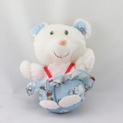 Peluche Puffalump ours blanc bleu moutons PATAPOUF