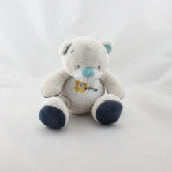 Doudou ours blanc gris bleu Arthur et Lola BEBISOL