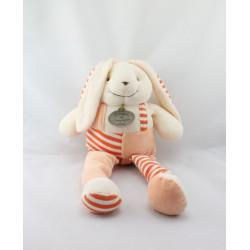 Doudou et compagnie lapin salopette rayé orange