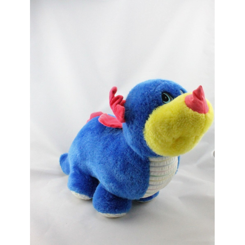 Peluche dinosaure bleu jaune rouge NOUNOURS