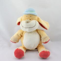 Doudou musical chien jaune rouge chapeau bleu BENGY