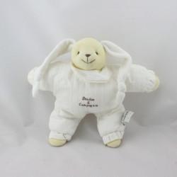 Doudou et compagnie semi plat lapin blanc