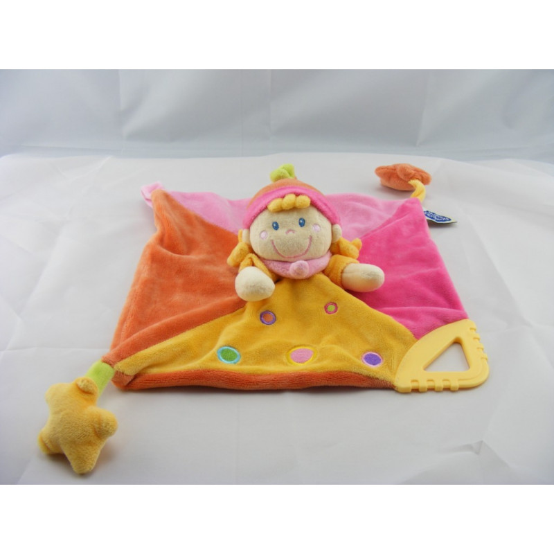 Lutin Doudou plat poupée lutin fille rose jaune étoile MOTS D/'ENFANTS Poupée