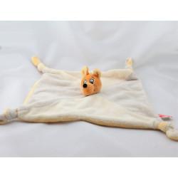 Doudou plat Kangourou orange jaune gris beige WALIBI