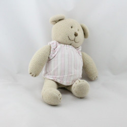 Doudou ours beige pull blanc rose tricot JACADI