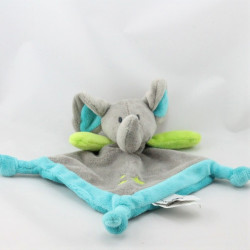 Doudou plat éléphant girs vert bleu U TOUT PETITS