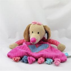 Doudou plat chien rose bleu coeur LIEF