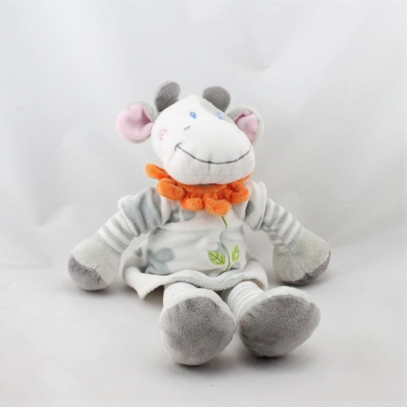 Doudou vache blanche grise col fleur orange NICOTOY