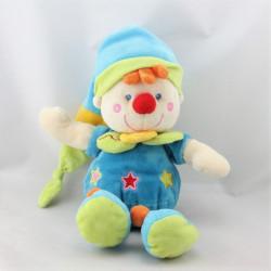 Doudou clown bleu vert étoiles NICOTOY