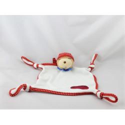 Doudou plat ours endormi bandanas rouge KALOO