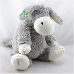 Doudou cheval ane gris blanc trèfle HAPPY HORSE