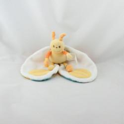 Doudou plat abeille papillon jaune vert bleu orange blanc KIMBALOO