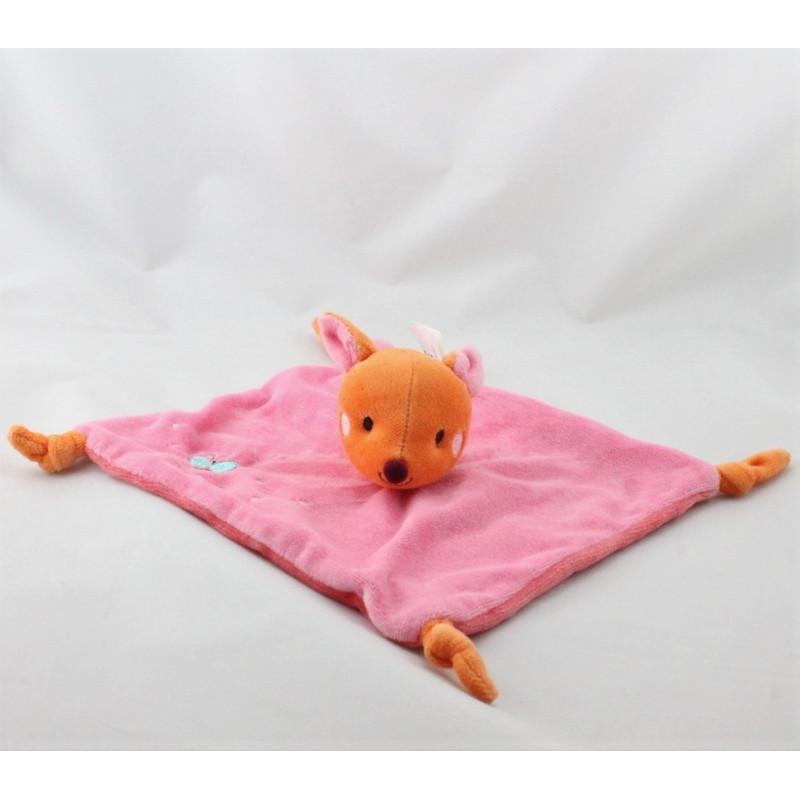 Doudou plat biche faon rose orange KITCHOUN KIABI