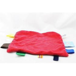Doudou plat carré rouge étiquettes SNOOZE BABY