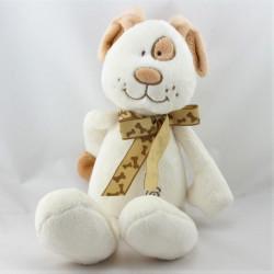 Doudou chien blanc beige marron MAXITA