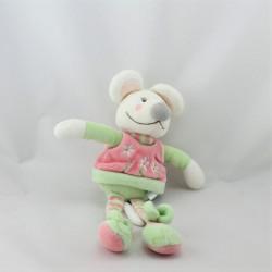 Doudou souris blanche rose vert fleurs DPAM