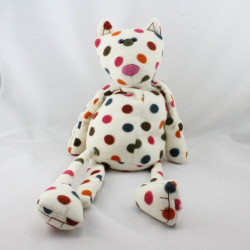 Peluche chat blanc pois multicolore JELLYCAT
