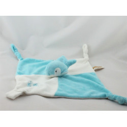 Doudou plat dauphin blanc bleu RODA