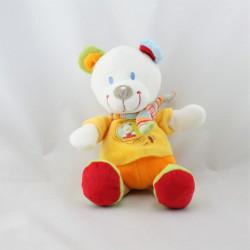 Doudou ours blanc jaune orange rouge vert rayé NICOTOY