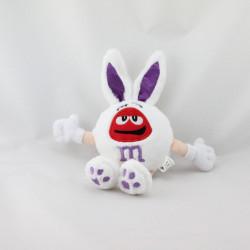 Doudou peluche lapin blanc rouge violet M&M'S